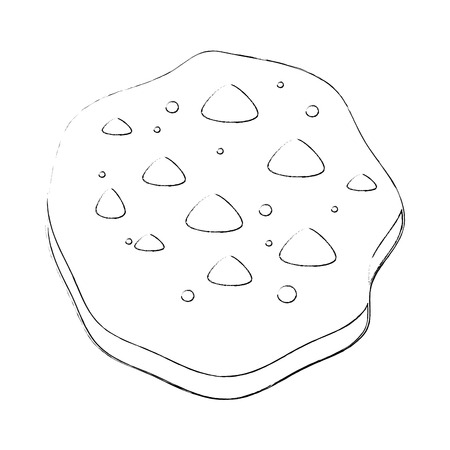 chocolate chips cookie icon over white background vector illustration