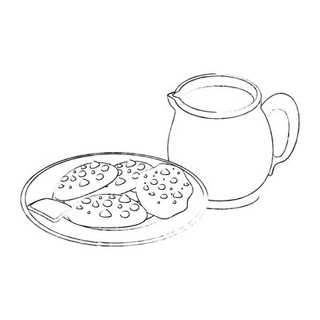 白い背景のベクトル図にチョコレート チップ クッキーのアイコンとプレート