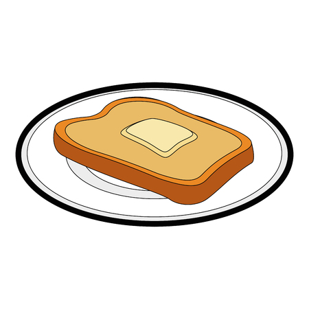 loaf and butter icon over white background vector illustration