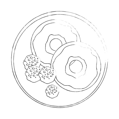 dish with cookies and sweet donuts icon over white background vector illustration