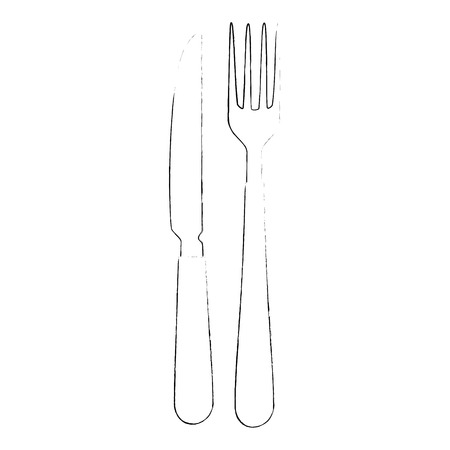 knife and fork icon over white background vector illustration Ilustração