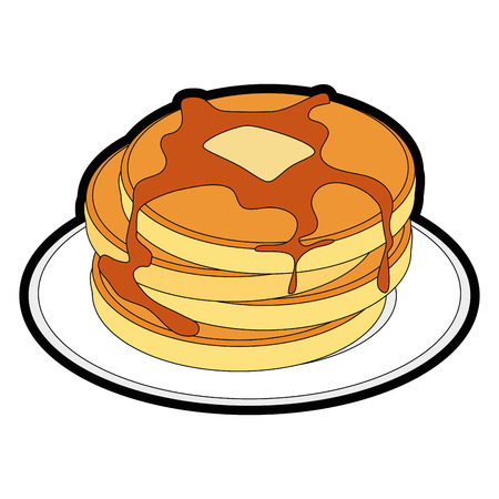 plate with pancakes icon over white background vector illustration