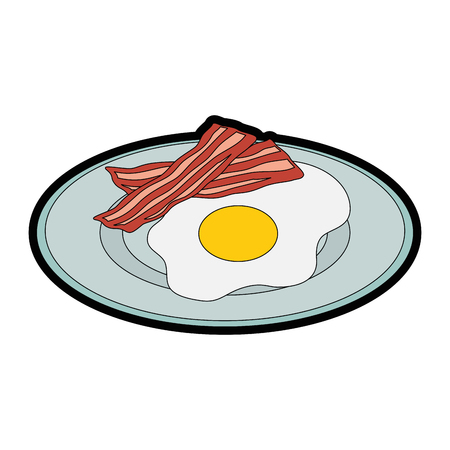 plate with egg and bacon icon over white background vector illustration 向量圖像