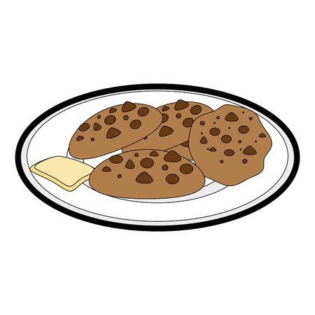plate with chocolate chips cookie icon over white background vector illustration Illustration
