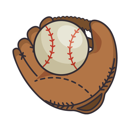 baseball ball and glove vector illustration design
