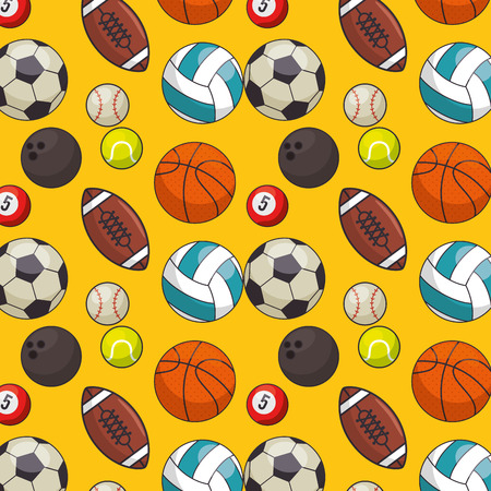 balls sports pattern background vector illustration design Illustration