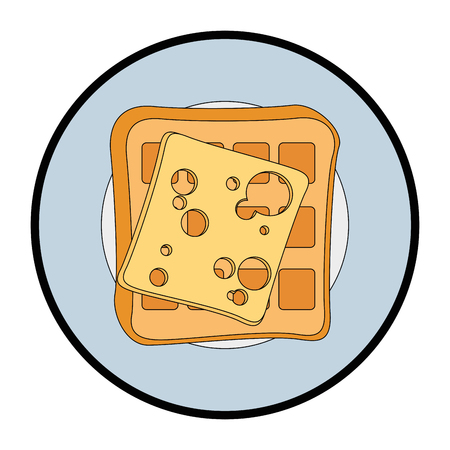 plate with waffles and cheese slice icon over white background vector illustration
