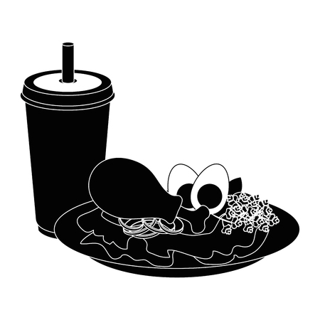 chicken drumsticks plate icon vector illustration graphic design Illusztráció