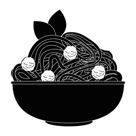 おいしいスパゲッティ食べ物アイコン ベクトル イラスト グラフィック デザイン