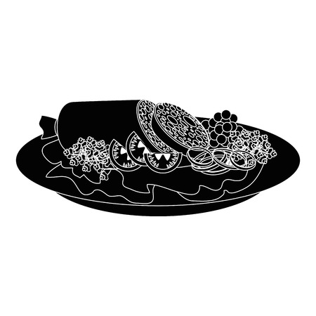 sliced sausage meat icon vector illustration graphic desgn Ilustração