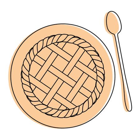 pie sweet dessert icon vector illustration graphic design