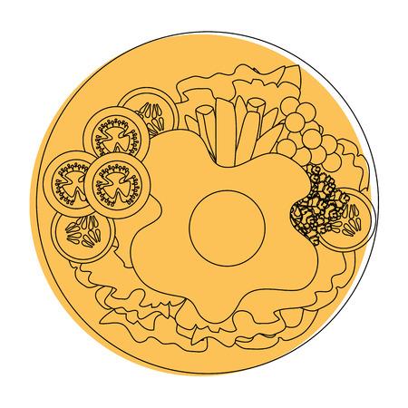 Colazione uovo gourmet icona illustrazione vettoriale illustrazione grafica Archivio Fotografico - 85075859