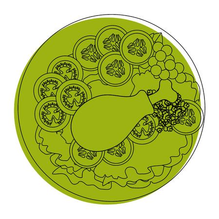 chicken drumsticks plate icon vector illustration graphic design Illustration