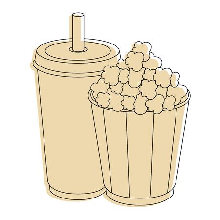 crunchy: popcorn paper cup icon vector illustration graphic design
