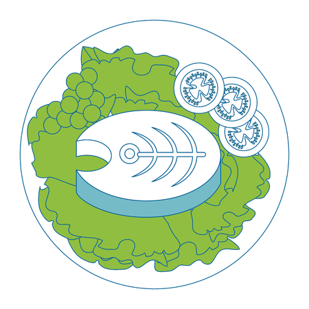fish steak plateicon vector illustration graphic design
