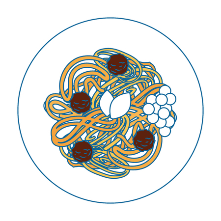 スパゲッティ イラスト プレート アイコン ベクトル イラスト グラフィック デザイン