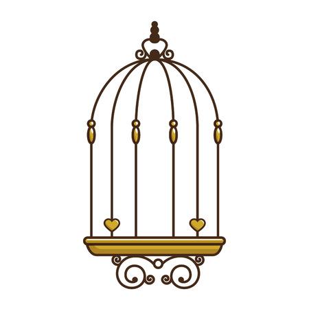 鳥ケージ ヴィンテージ アイコン ベクトル イラスト、グラフィック デザイン