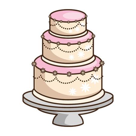 wedding cake married icon vector illustration graphic design Banco de Imagens - 85076210