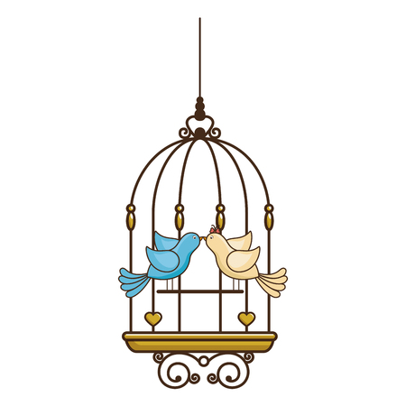 trapped: bird cage vintage icon vector illustration, graphic design Illustration