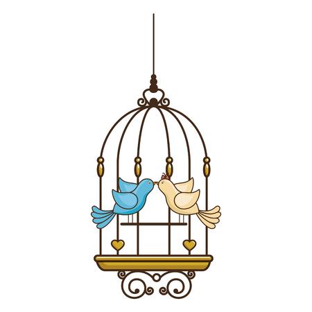 Gabbia uccello vintage icona illustrazione vettoriale, disegno grafico Archivio Fotografico - 85076223