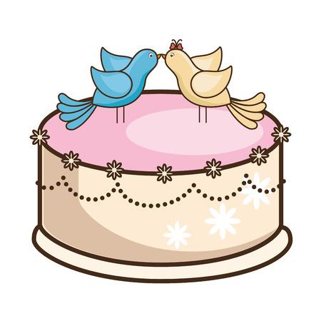 Ikonenvektor-Illustrationsgrafikdesign der Hochzeitstorte geheiratet Standard-Bild - 85076225