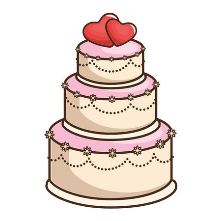 Ikonenvektor-Illustrationsgrafikdesign der Hochzeitstorte geheiratet Standard-Bild - 85076226