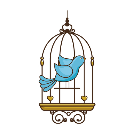 bird cage vintage icon vector illustration, graphic design Illustration
