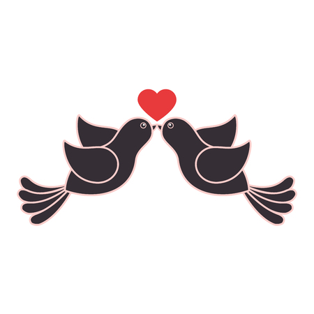 birds lovely valentine icon vector illustration graphic design