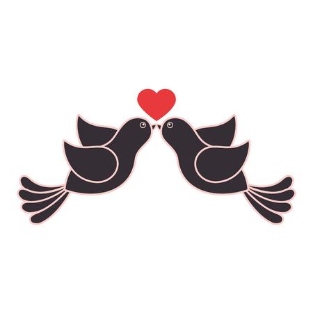 birds lovely valentine icon vector illustration graphic design