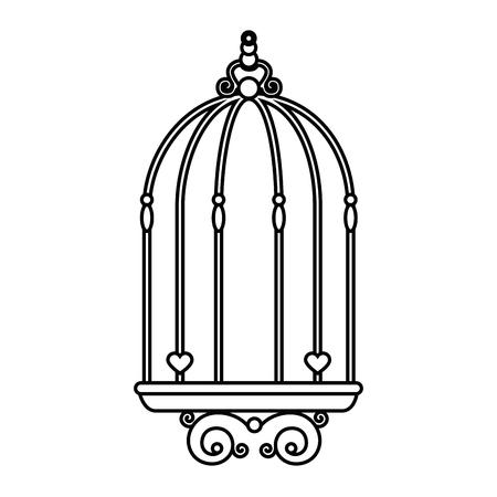 bird cage vintage icon vector illustration, graphic design Stock Illustratie