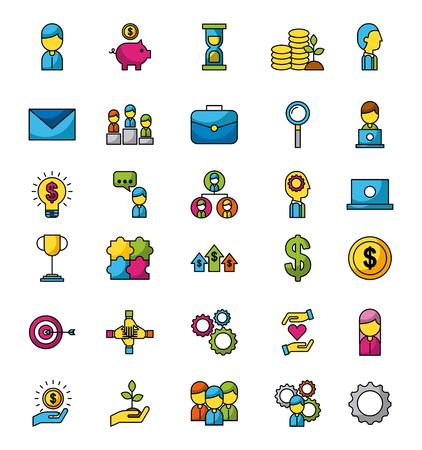Business and finance icons set web app image vector illustration Ilustracja