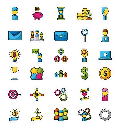 Icônes d & # 39 ; affaires et de finances mis application web illustration vectorielle Banque d'images - 85118650
