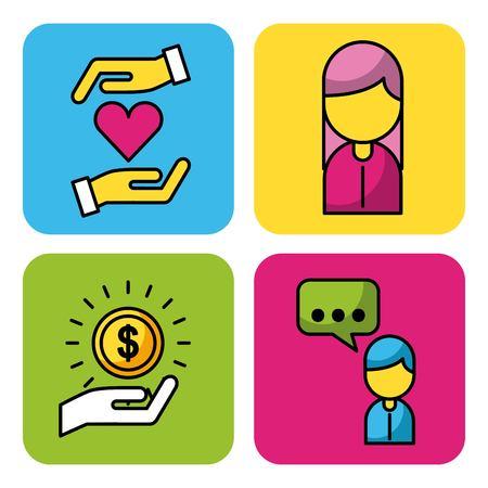 People donation charity money business icons set web app image vector illustration Ilustracja