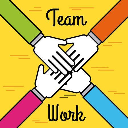 ビジネスの統一手チームワーク連携のベクトル図の概念