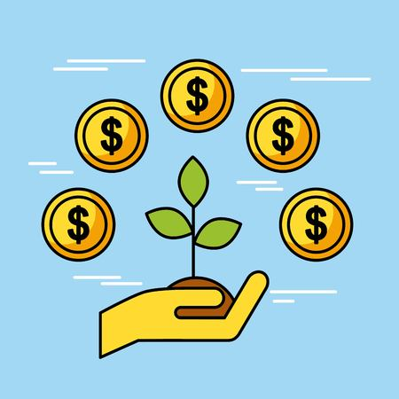 man hand holding tree money coins concept of investment finance and business vector illustration