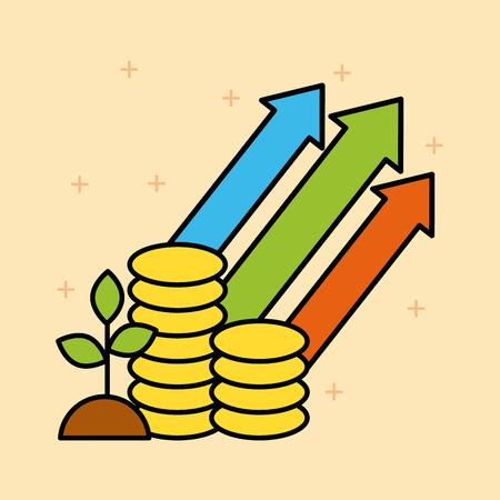 set of finance and business growth investing concepts vector illustration