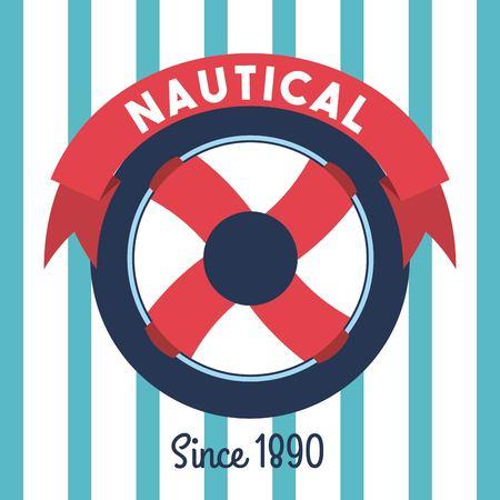 Steering wheel ship nautical emblem stripes background vector illustration