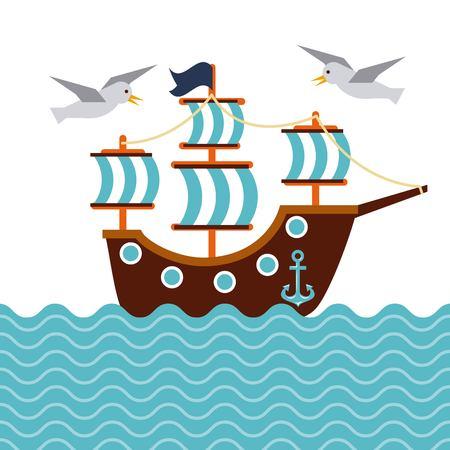 Zeilboot nautische zeevogel anker mariene concept vectorillustratie. Stock Illustratie