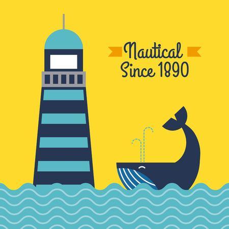 Nautical lighthouse sea whale poster vector illustration. Иллюстрация