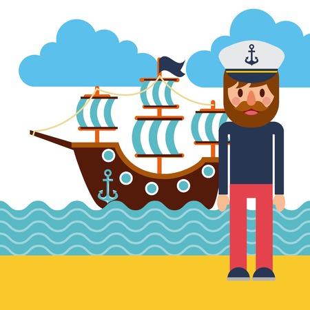 cartoon captain sailor in uniform with the ship vector illustration