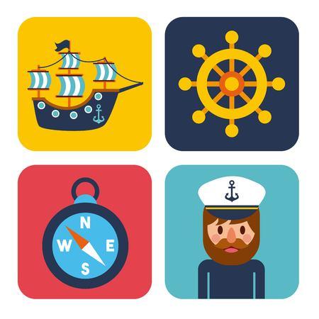 A nautical design elements sailor captain wheel boat compass vector illustration. Çizim