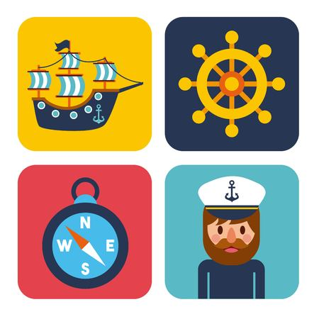A nautical design elements sailor captain wheel boat compass vector illustration. Illustration