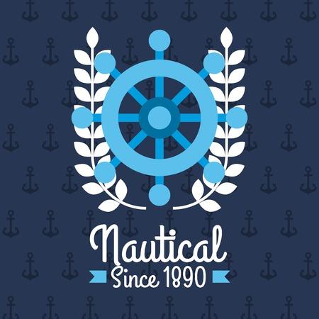 ●ステアリングホイール艦航海エンブレムデザインブルーの背景ベクトルイラスト。