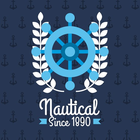 Steering wheel ship nautical emblem design blue background vector illustration. Illustration