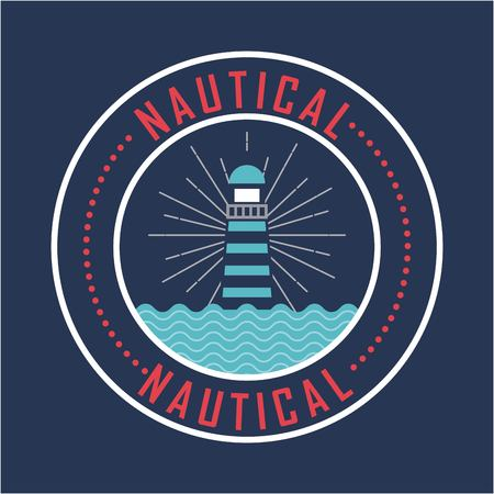 Nautical lighthouse with blue sea nature poster vector illustration.