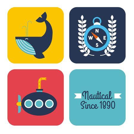 nautical design elements whale submarine compass vector illustration