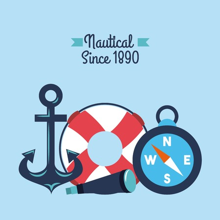 nautical anchor lifebouy spyglass compass symbols vector illustration