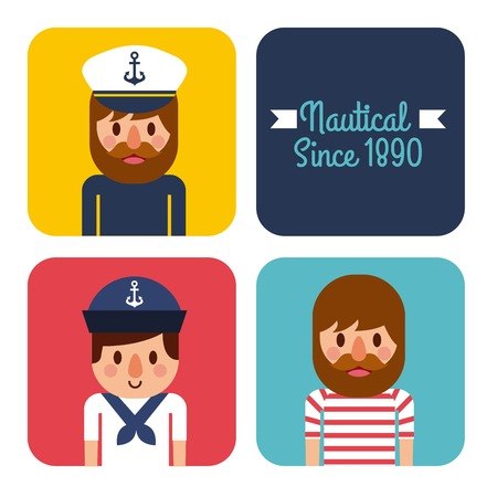 Nautical people captain sailor worker character vector illustration