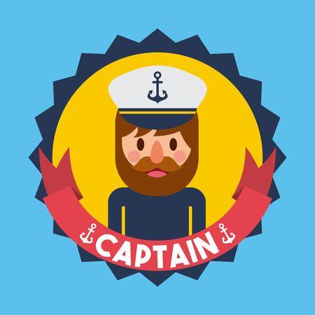 Portrait captain or sailor boat nautical badge vector illustration