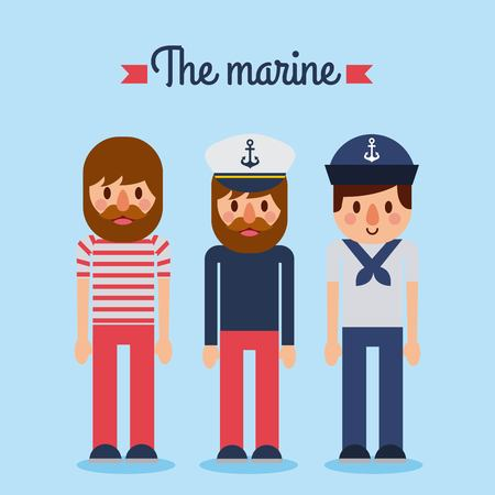The marine people captain sailor worker character vector illustration.
